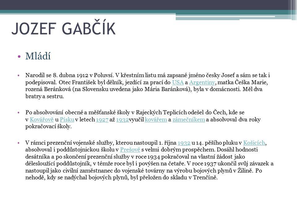 JOZEF GABČÍK Mládí.