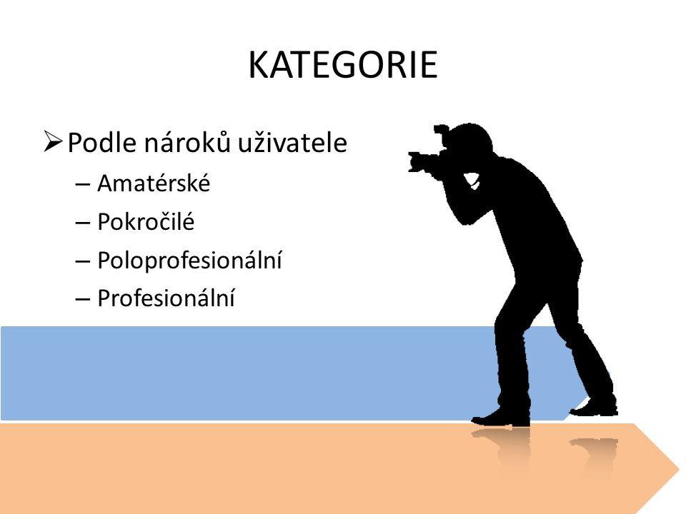 KATEGORIE Podle nároků uživatele Amatérské Pokročilé Poloprofesionální