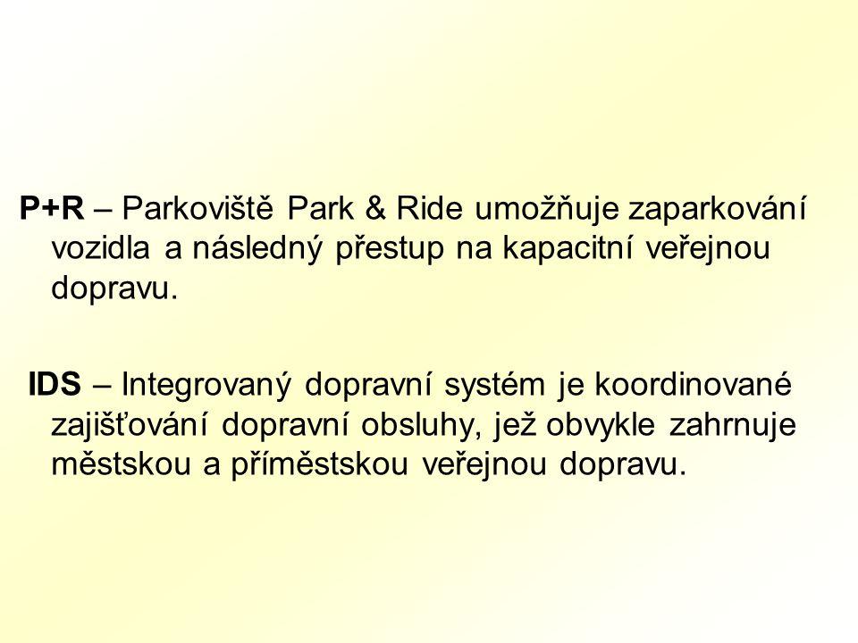 P+R – Parkoviště Park & Ride umožňuje zaparkování vozidla a následný přestup na kapacitní veřejnou dopravu.