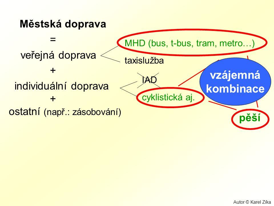 Městská doprava vzájemná kombinace = veřejná doprava +