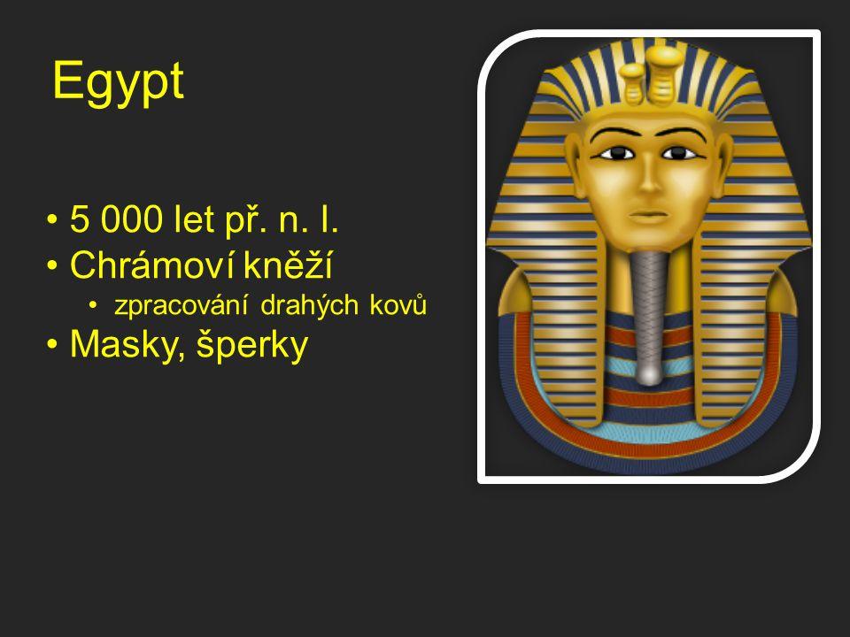 Egypt 5 000 let př. n. l. Chrámoví kněží Masky, šperky