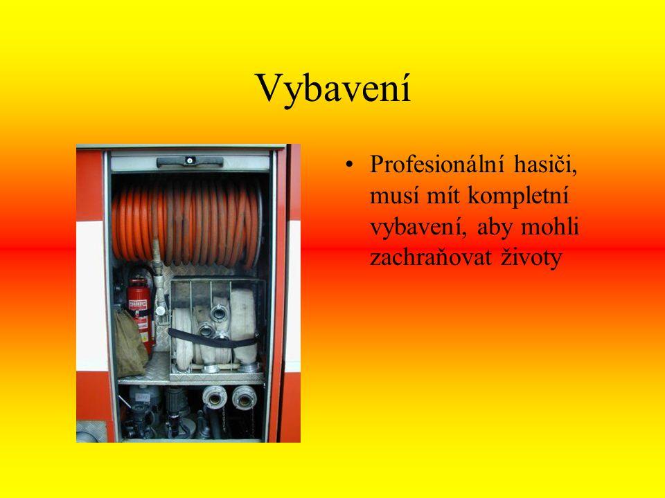 Vybavení Profesionální hasiči, musí mít kompletní vybavení, aby mohli zachraňovat životy