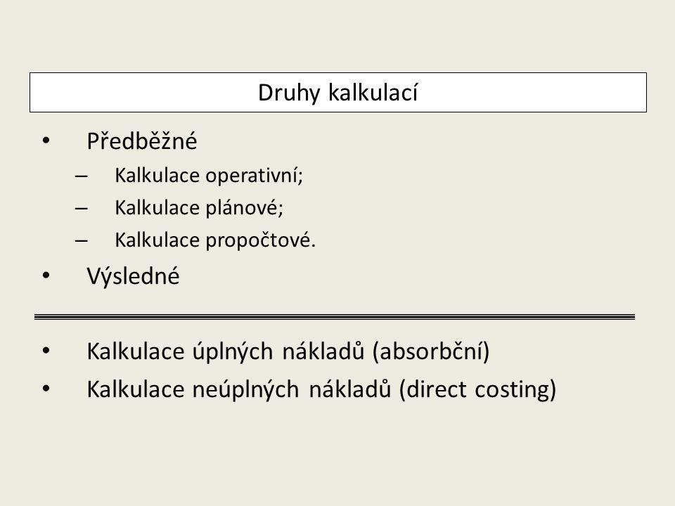 Kalkulace úplných nákladů (absorbční)