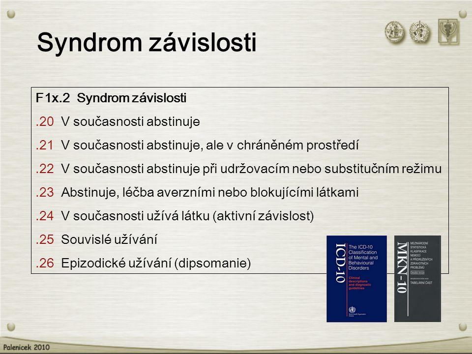Syndrom závislosti F1x.2 Syndrom závislosti