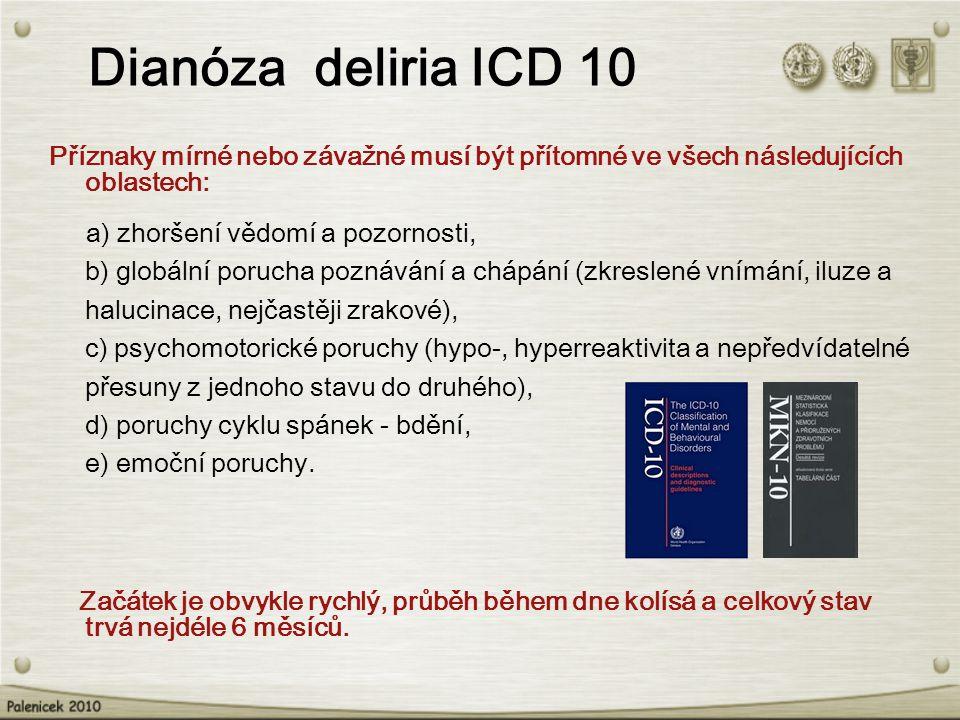 Dianóza deliria ICD 10 Příznaky mírné nebo závažné musí být přítomné ve všech následujících oblastech: