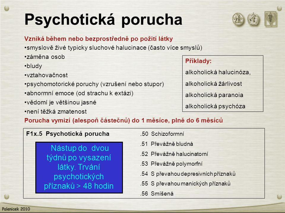 Psychotická porucha Vzniká během nebo bezprostředně po požití látky. smyslově živé typicky sluchové halucinace (často více smyslů)