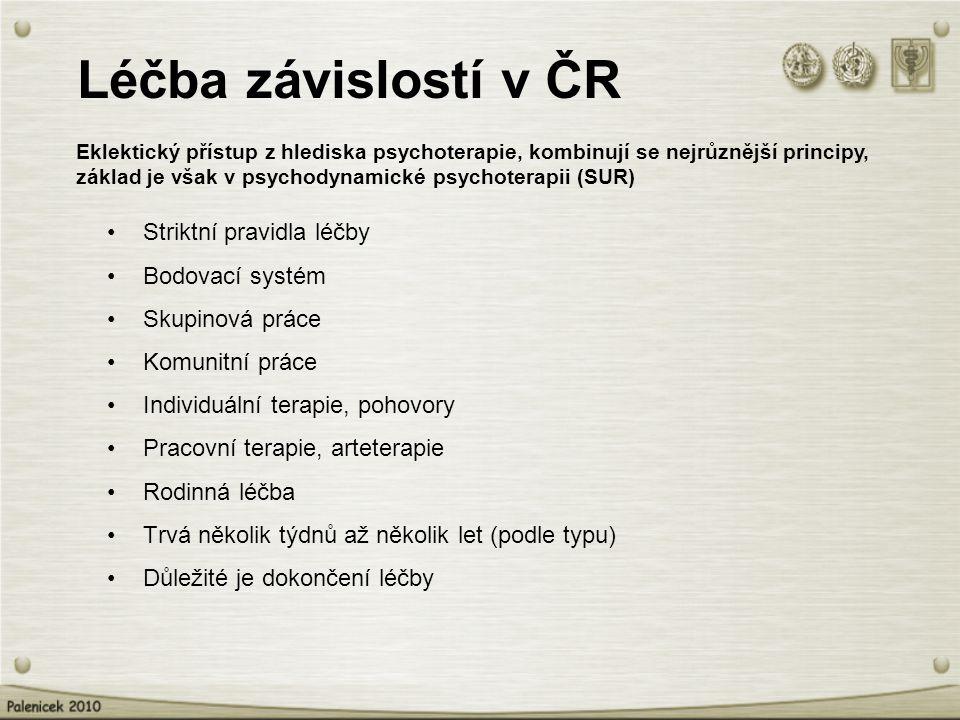 Léčba závislostí v ČR Striktní pravidla léčby Bodovací systém