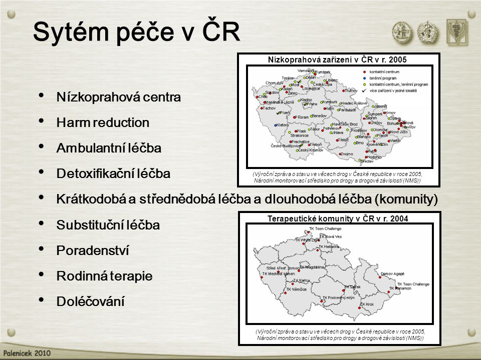 Sytém péče v ČR Nízkoprahová centra Harm reduction Ambulantní léčba