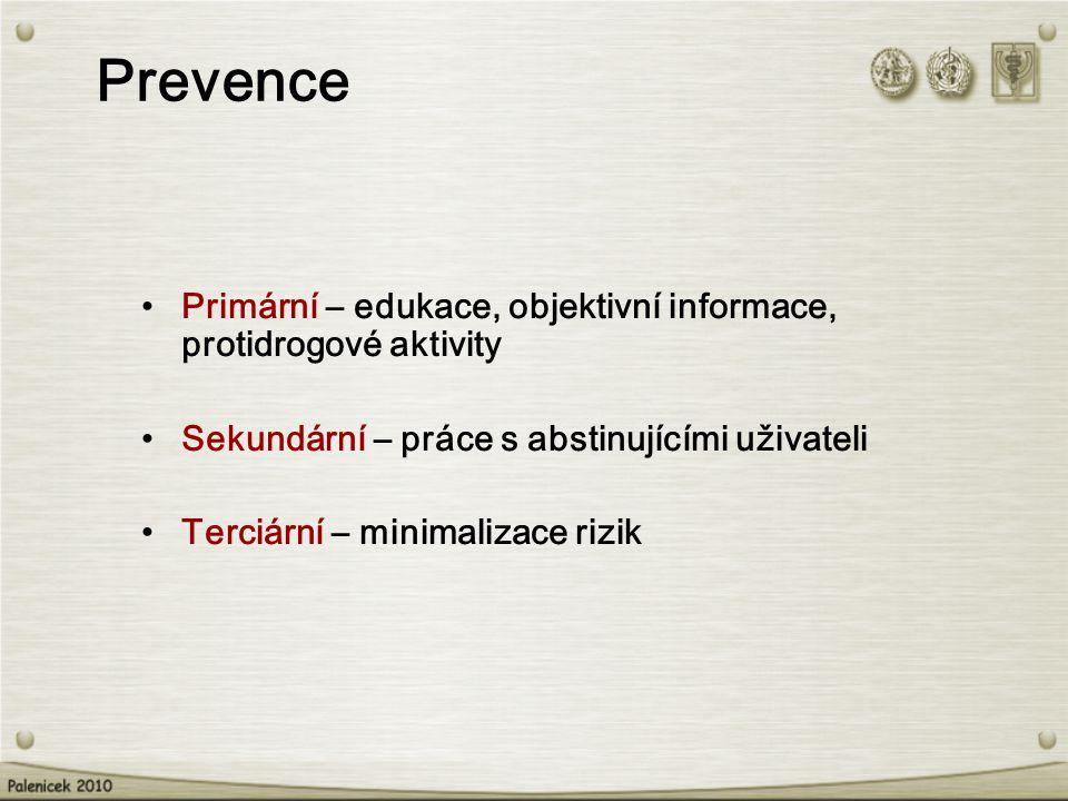 Prevence Primární – edukace, objektivní informace, protidrogové aktivity. Sekundární – práce s abstinujícími uživateli.