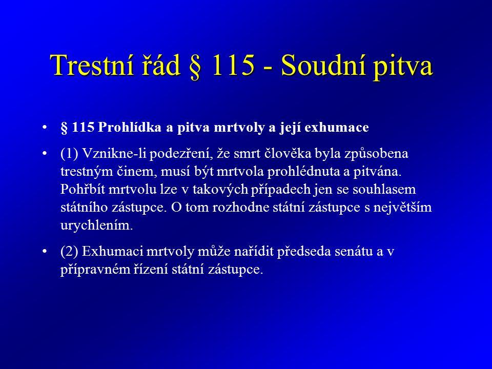 Trestní řád § 115 - Soudní pitva