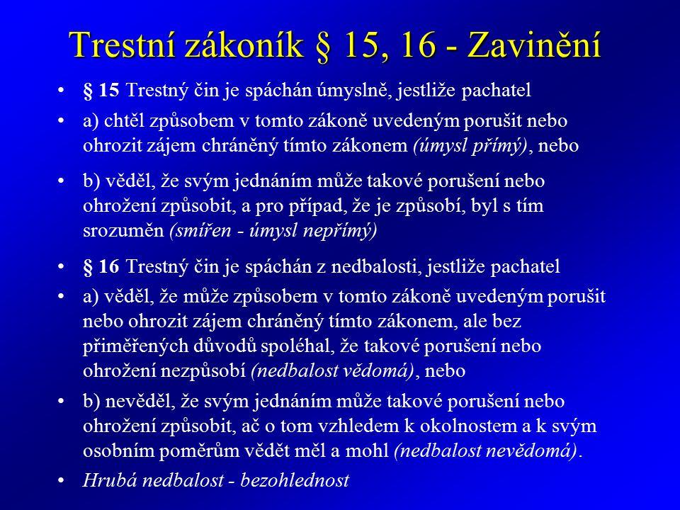Trestní zákoník § 15, 16 - Zavinění