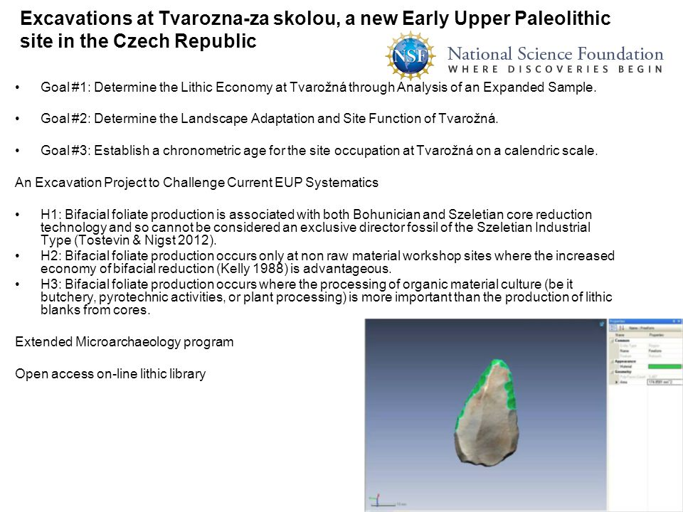 Excavations at Tvarozna-za skolou, a new Early Upper Paleolithic site in the Czech Republic
