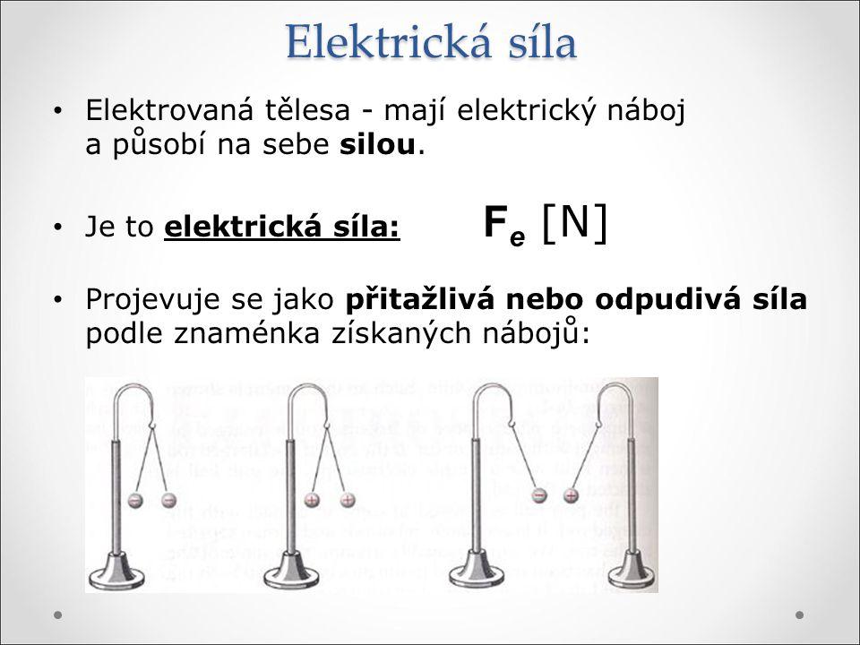 Elektrická síla Elektrovaná tělesa - mají elektrický náboj