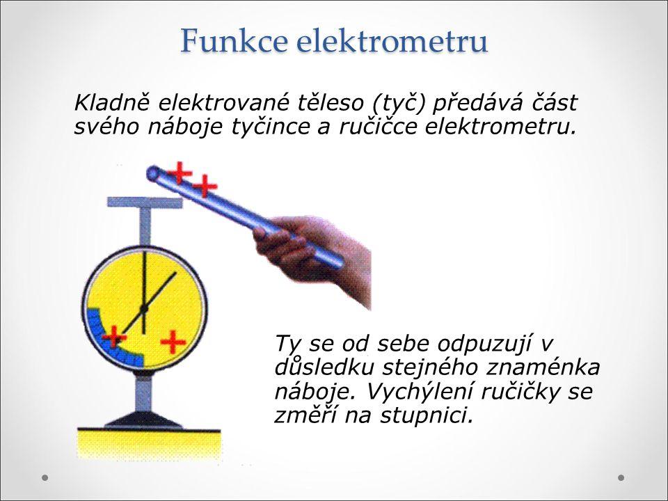Funkce elektrometru Kladně elektrované těleso (tyč) předává část svého náboje tyčince a ručičce elektrometru.