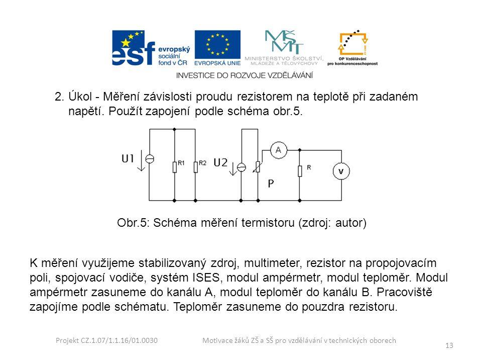 2. Úkol - Měření závislosti proudu rezistorem na teplotě při zadaném