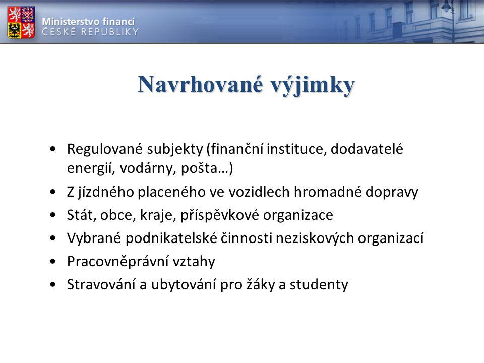 Navrhované výjimky Regulované subjekty (finanční instituce, dodavatelé energií, vodárny, pošta…) Z jízdného placeného ve vozidlech hromadné dopravy.