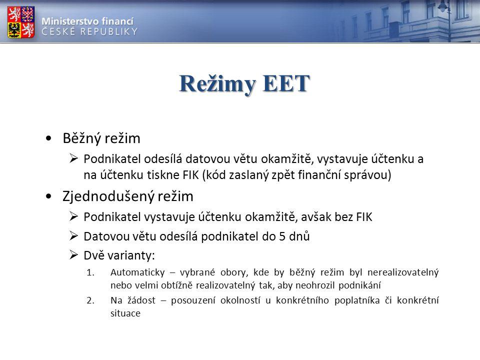 Režimy EET Běžný režim Zjednodušený režim