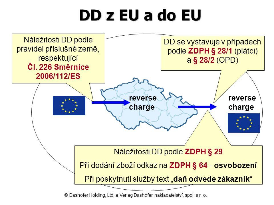 DD z EU a do EU Náležitosti DD podle pravidel příslušné země, respektující Čl. 226 Směrnice.
