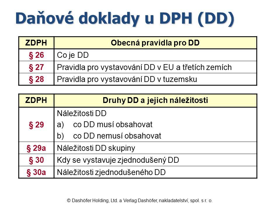 Druhy DD a jejich náležitosti