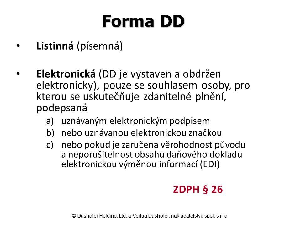 Forma DD Listinná (písemná)