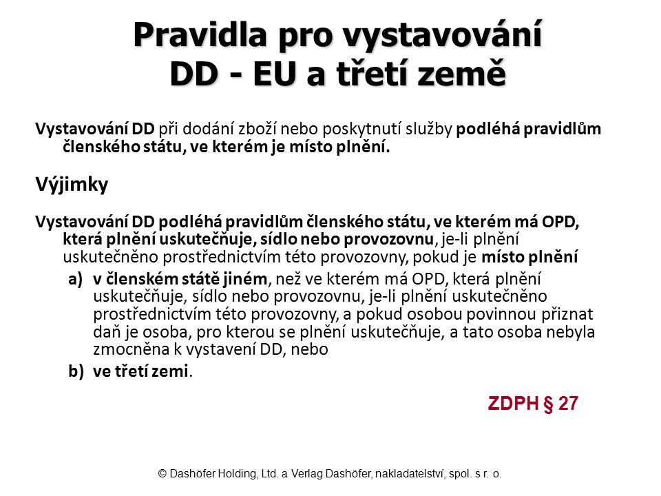Pravidla pro vystavování DD - EU a třetí země