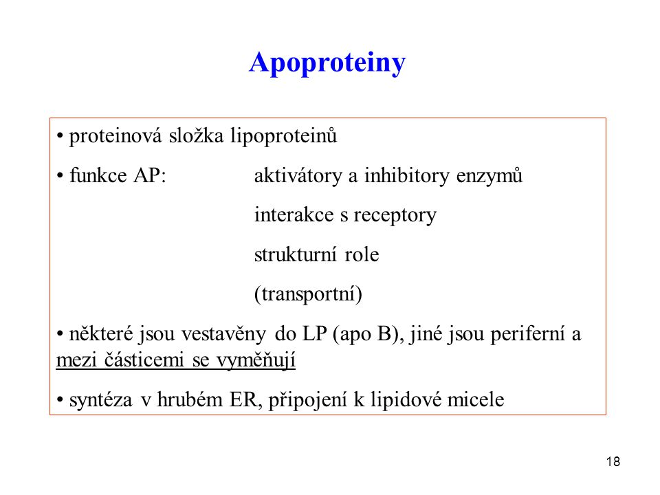 Apoproteiny proteinová složka lipoproteinů