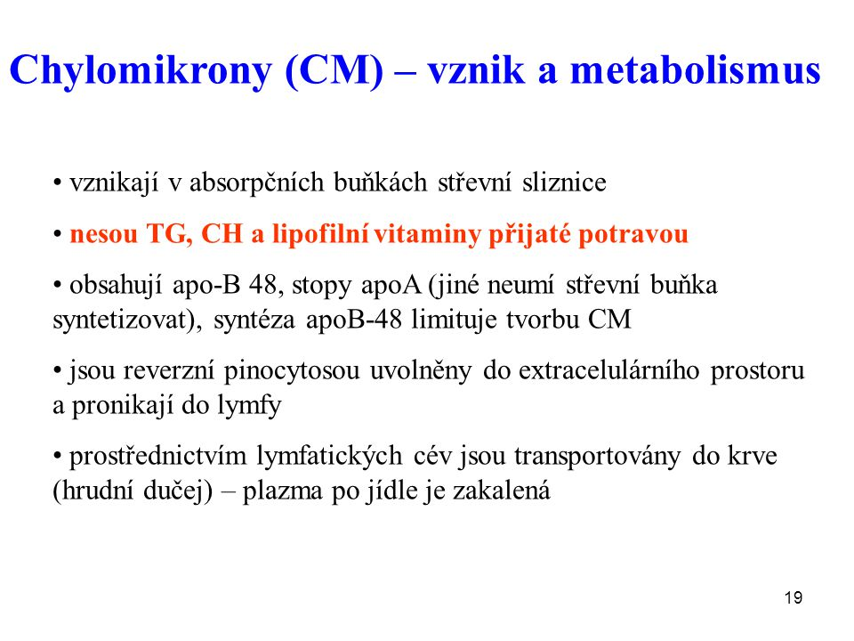 Chylomikrony (CM) – vznik a metabolismus