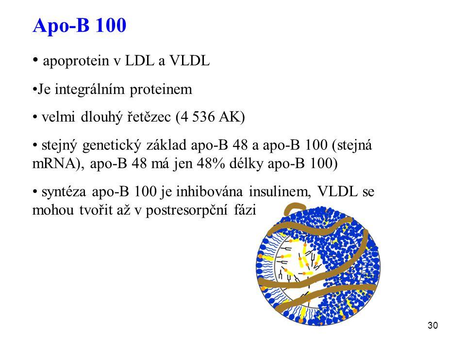 Apo-B 100 apoprotein v LDL a VLDL Je integrálním proteinem