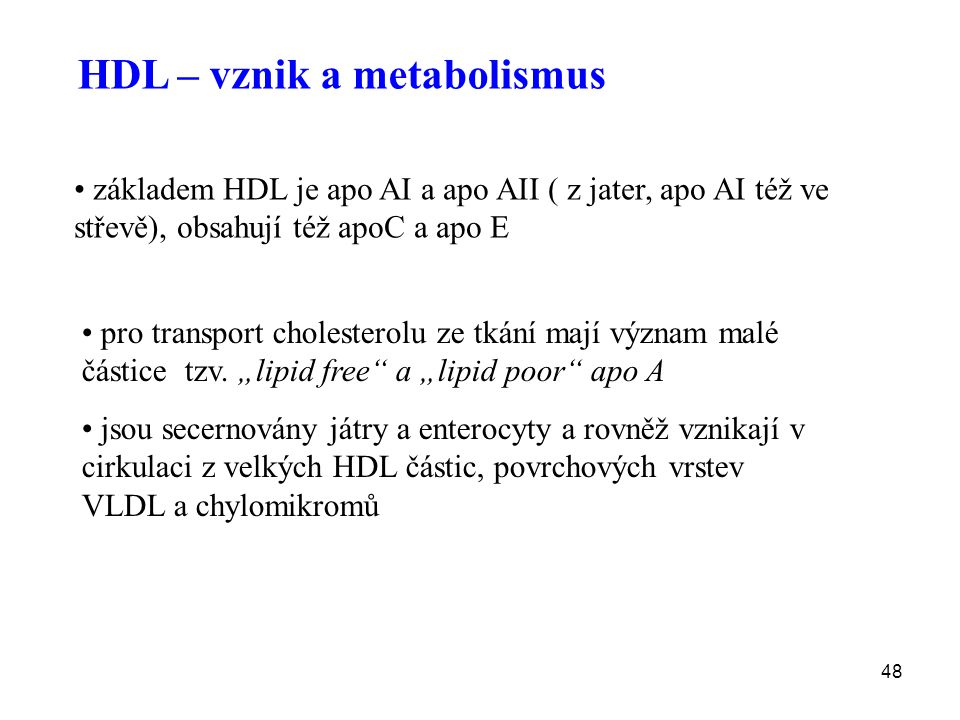 HDL – vznik a metabolismus