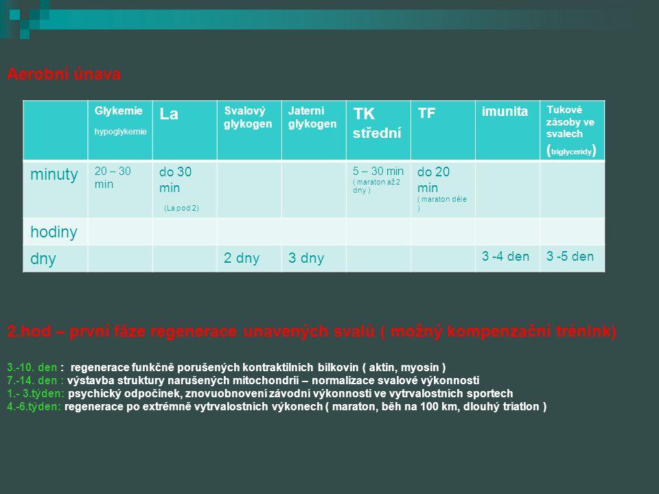 Aerobní únava 2.hod – první fáze regenerace unavených svalů ( možný kompenzační trénink)