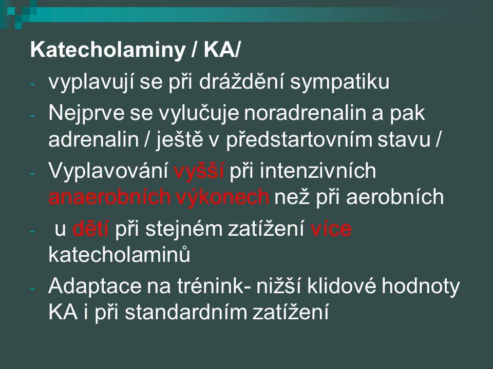 Katecholaminy / KA/ vyplavují se při dráždění sympatiku. Nejprve se vylučuje noradrenalin a pak adrenalin / ještě v předstartovním stavu /