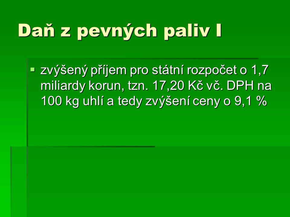 Daň z pevných paliv I zvýšený příjem pro státní rozpočet o 1,7 miliardy korun, tzn.