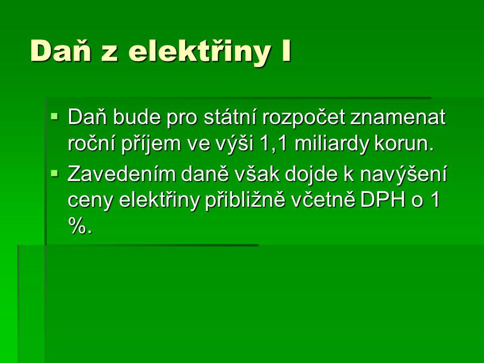 Daň z elektřiny I Daň bude pro státní rozpočet znamenat roční příjem ve výši 1,1 miliardy korun.