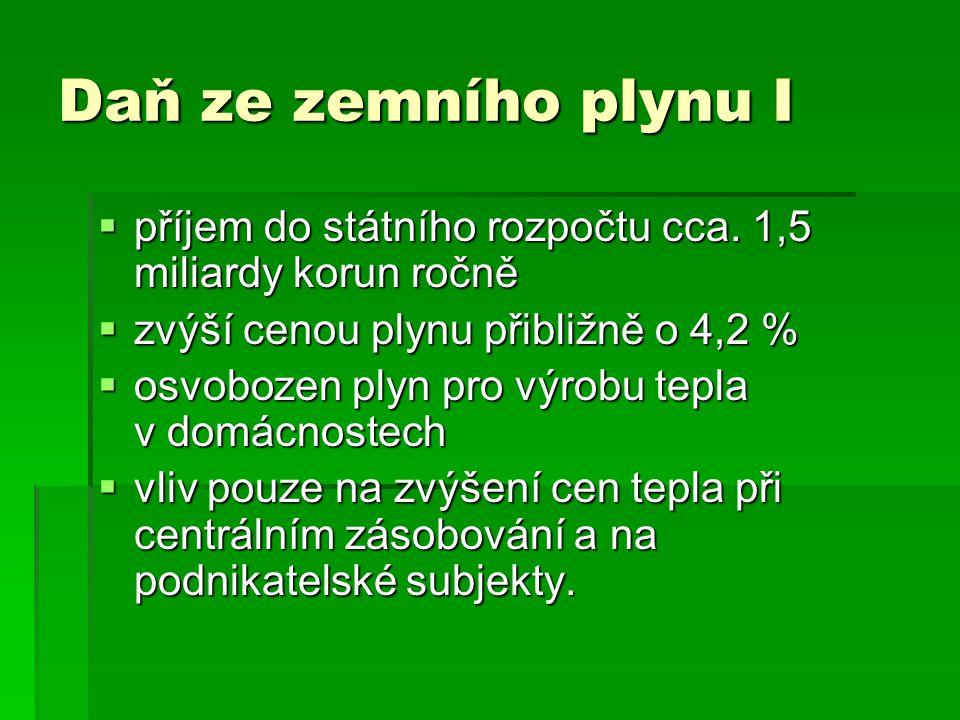 Daň ze zemního plynu I příjem do státního rozpočtu cca. 1,5 miliardy korun ročně. zvýší cenou plynu přibližně o 4,2 %