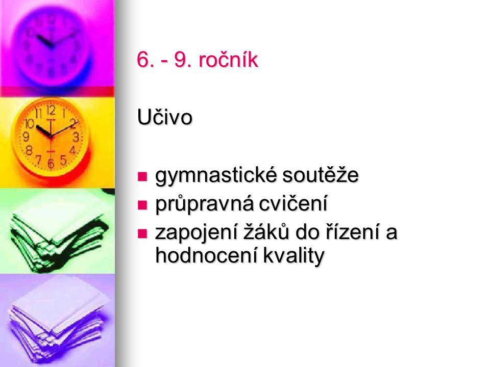 6. - 9. ročník Učivo. gymnastické soutěže. průpravná cvičení.