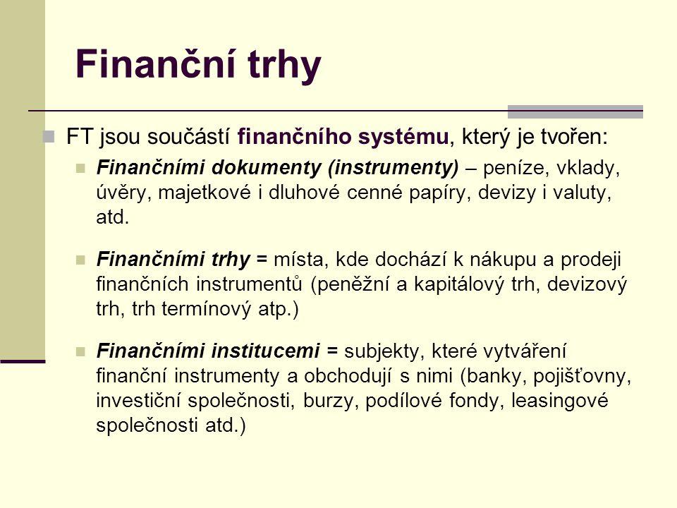 Finanční trhy FT jsou součástí finančního systému, který je tvořen: