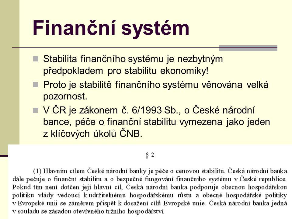 Finanční systém Stabilita finančního systému je nezbytným předpokladem pro stabilitu ekonomiky!