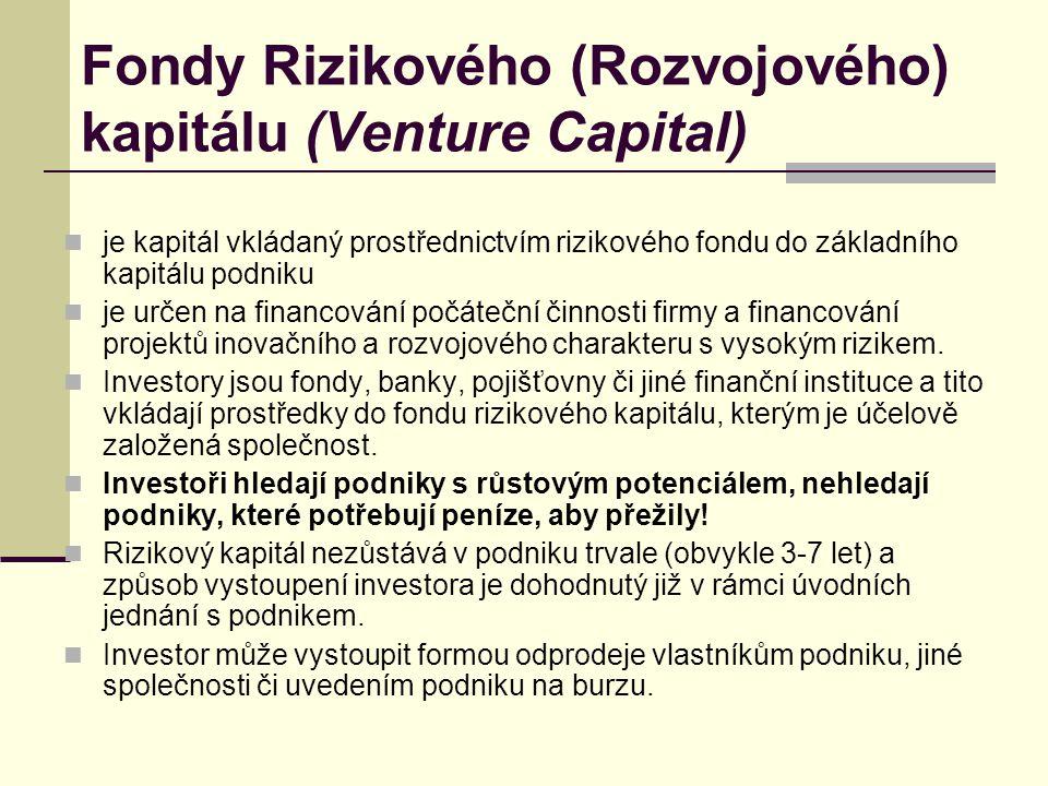Fondy Rizikového (Rozvojového) kapitálu (Venture Capital)