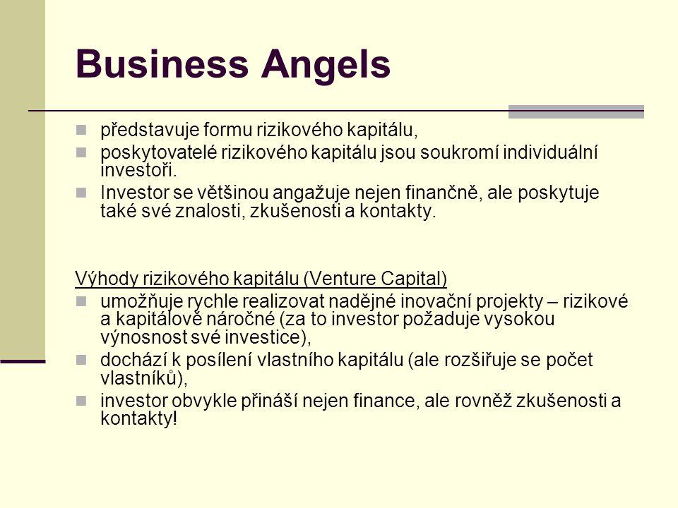 Business Angels představuje formu rizikového kapitálu,