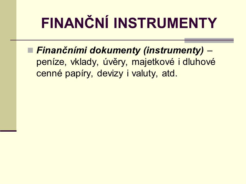 FINANČNÍ INSTRUMENTY Finančními dokumenty (instrumenty) – peníze, vklady, úvěry, majetkové i dluhové cenné papíry, devizy i valuty, atd.
