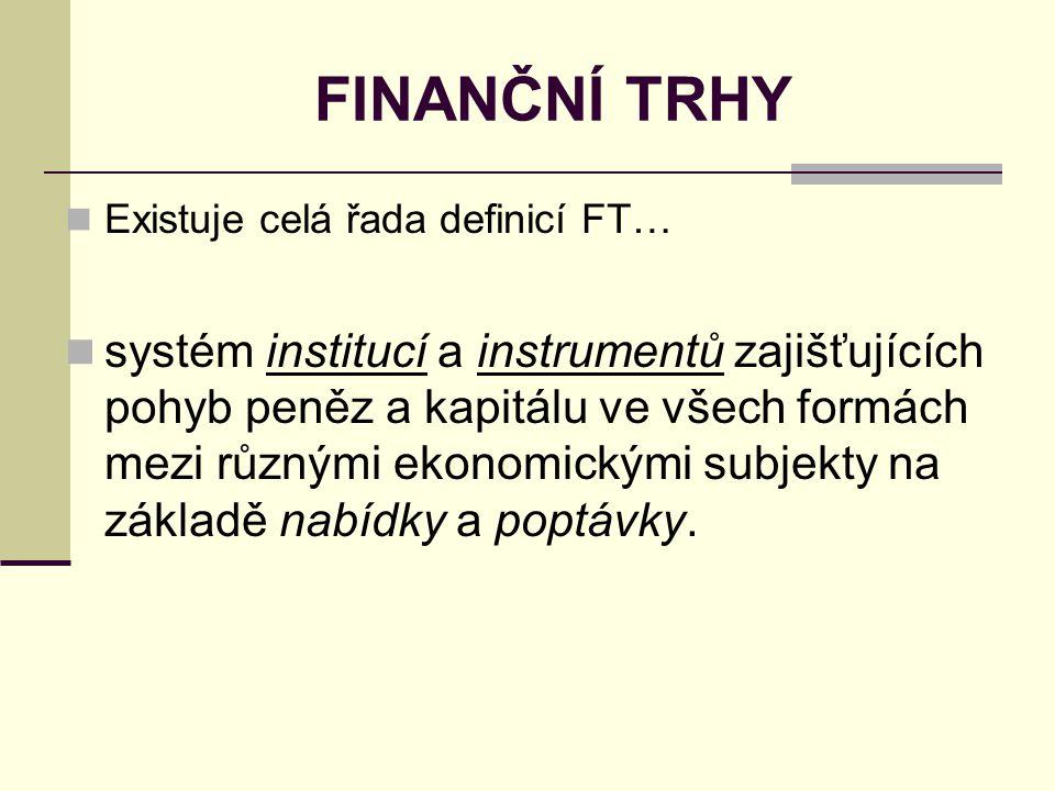 FINANČNÍ TRHY Existuje celá řada definicí FT…