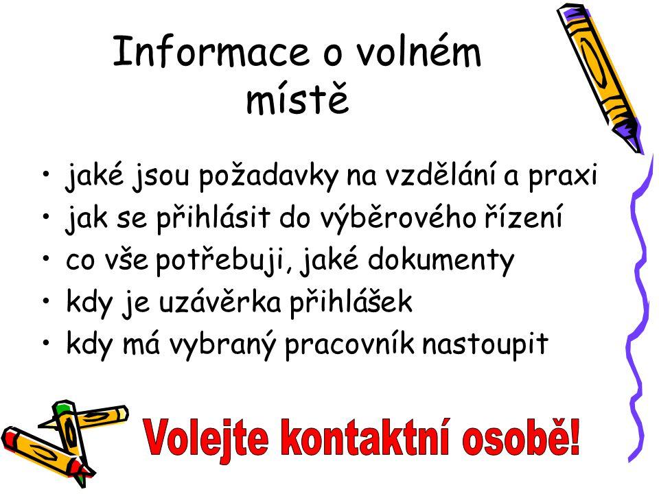 Informace o volném místě