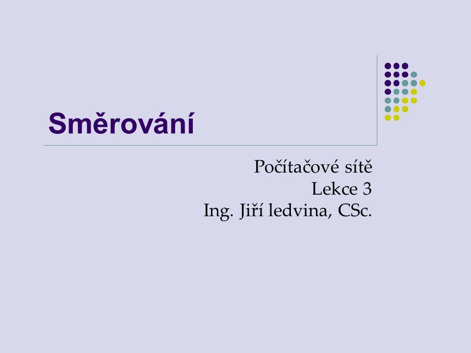 Směrování Počítačové sítě Lekce 3 Ing. Jiří ledvina, CSc.