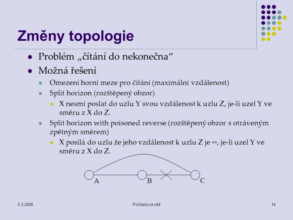 """Změny topologie Problém """"čítání do nekonečna Možná řešení"""