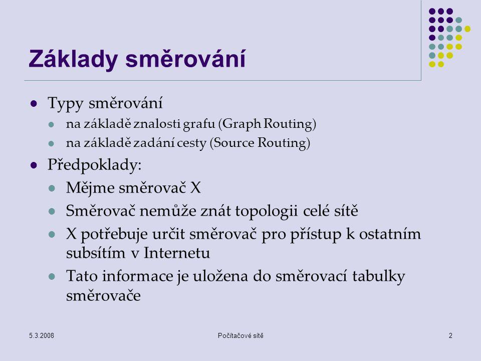 Základy směrování Typy směrování Předpoklady: Mějme směrovač X