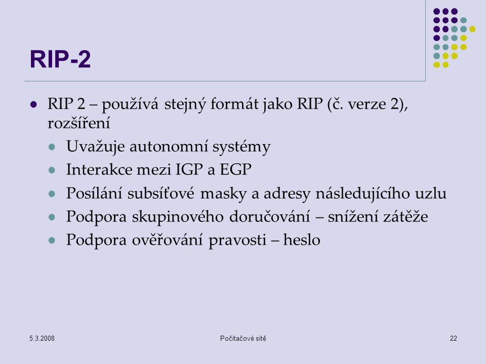 RIP-2 RIP 2 – používá stejný formát jako RIP (č. verze 2), rozšíření