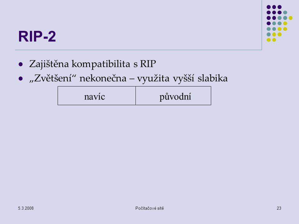 RIP-2 Zajištěna kompatibilita s RIP