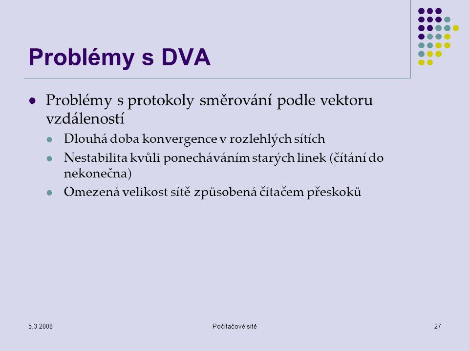 Problémy s DVA Problémy s protokoly směrování podle vektoru vzdáleností. Dlouhá doba konvergence v rozlehlých sítích.