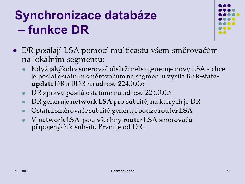 Synchronizace databáze – funkce DR
