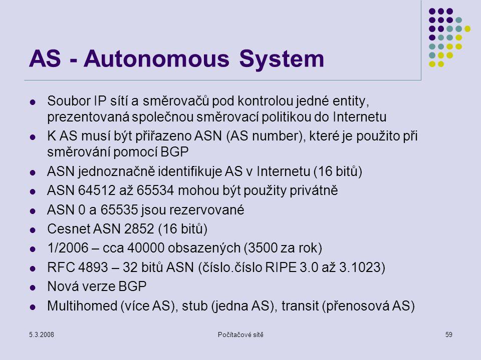 AS - Autonomous System Soubor IP sítí a směrovačů pod kontrolou jedné entity, prezentovaná společnou směrovací politikou do Internetu.